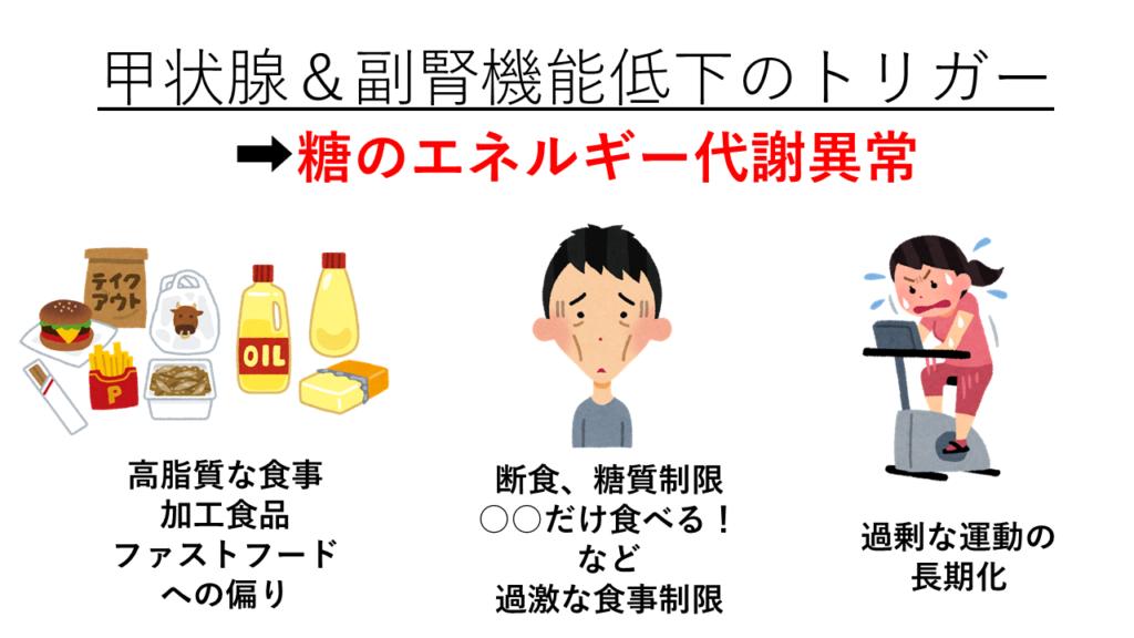 甲状腺&副腎機能低下のトリガー(ダイエット)